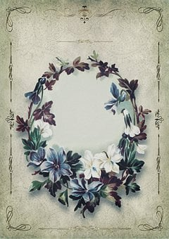 Vintage, Flowers, Frame, Decorated, Gold, Paper, Great
