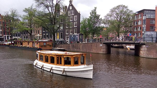 Boat, Channel, Amsterdam, Water