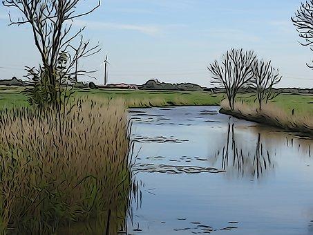 Brush Strokes, Water, River, Landscape