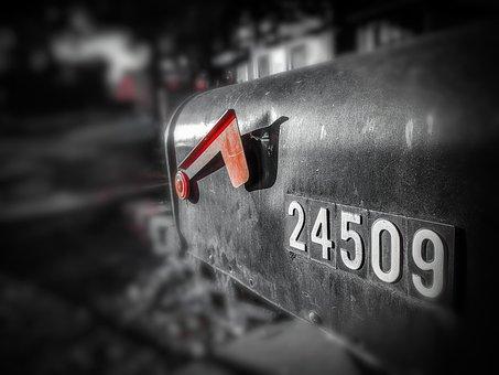 Mailbox, Mail, Street, Address, Black, White, Red