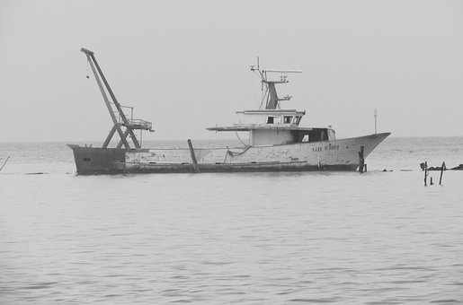 Lagoon, Wreck, Boat, Black And White, Loneliness