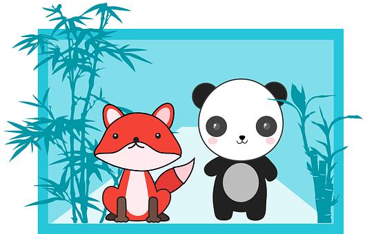 Fox, Panda, Animal, Bamboo, Cute, Mammal