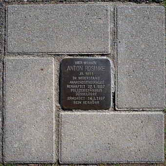 Stumbling Blocks, Memorial Plaque, Brass Plate