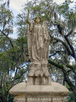 Angel, Cherub, Statue, Sculpture, Cemetery, Tombstone