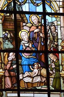 Stained Glass, Window, Church, Christmas, Jesus, Baby