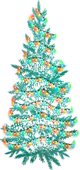 Christmas Tree, Snow, Lights, Christmas, Winter, Tree