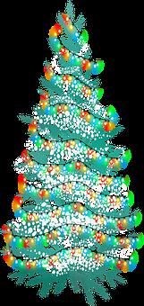 Christmas Tree, Snow, Lights, Christmas, Winter, Tree