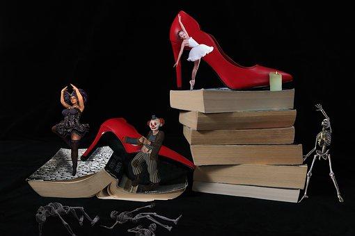 Download, Red, Books, Clown, Jester, Girl, Ballerina