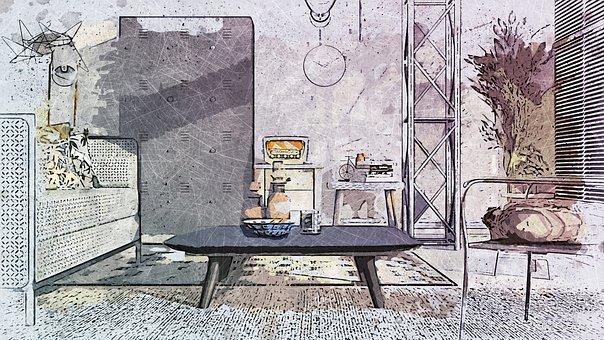 Living-room, Gray, Cabinet, Chair, Sofa, Modern