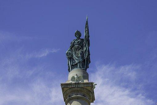 Statue, Bronze, Sculpture, Justice, History, Sword