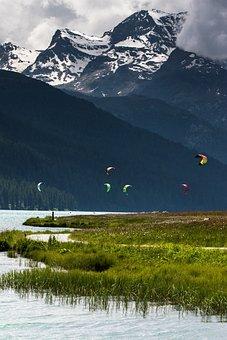 Mountains, Lake, Kite Surfing, Nature, Landscape