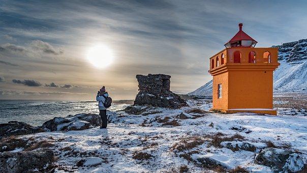 Lighthouse, Iceland, Winter, Sea, Sky, Coast, Landscape
