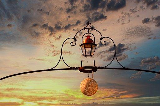 Sky, Luminaire, Floor Lamp, Lighting, Lantern, Iron