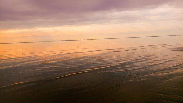 Sunset, Fiery, Orange, Water, Reflection