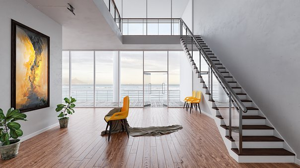 Interior, Room, Art, View, Ocean, Panorama, House