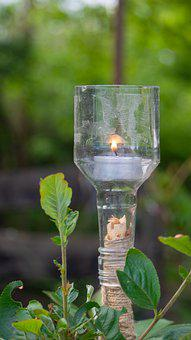 Candle, Garden, Light, Recycle, Upcycling, Bottle