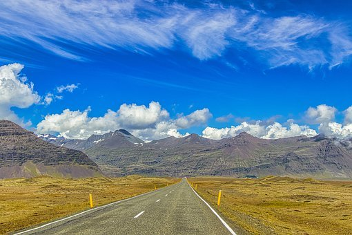 Iceland, Way, Landscape, Road, Mountains