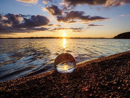 Sunset, Lake, Water, Sky, Spring, Nature, Beach