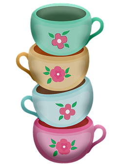 Staked Tea Cups, Tea, Cups, Cup, Drink