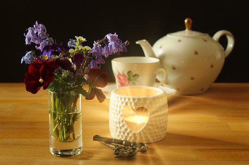 Flowers, Spring Bouquet, Teapot, Teacup, Tee, Tea Time