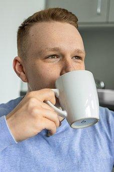 Man, Coffee, Tee, Laugh, Digital, Cafe, Shirt, Desk