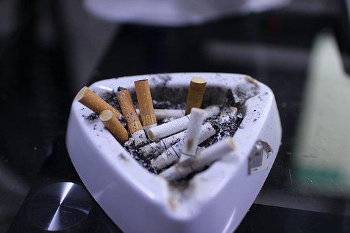 Cigarettes On Ashtray, Tobacco, Brown Cigarettes