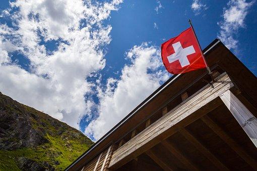 Flag, Switzerland, Saas Fee, Sky, Outdoors, Red, Travel
