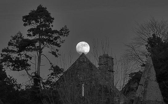 Moon, Full Moon, Abbey, Church, Night, Fantasy