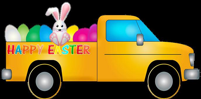 Easter Truck, Easter, Rabbit, Bunny, Easter Eggs