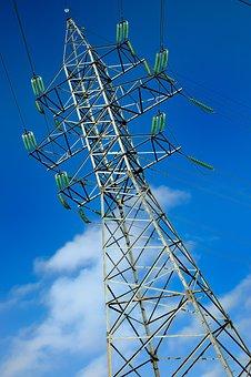 Pole, Sky, Power, Electricity, Lines, Blue, Cables