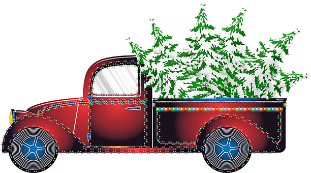 Christmas Car, Christmas Truck, Pick Up Truck, Lorrie