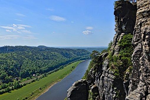 Rock, Cliff, Elbe Sandstone Mountains, River, Elbe