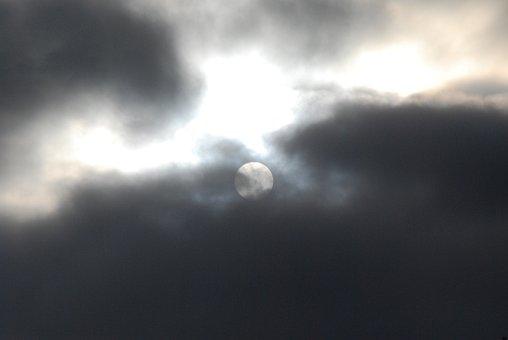 Moon, Moonlight, Dark, Clouds, Moody