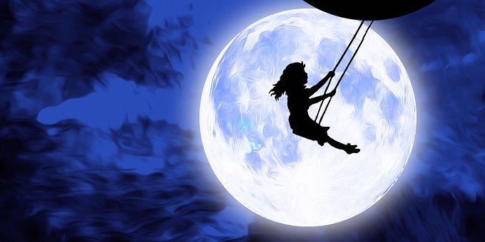 Girl, Female, Joy, Moon, Night, Sky, Full Moon