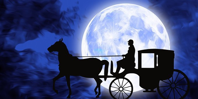 Horse, Cart, Moon, Night, Sky, Full Moon, Moonlight