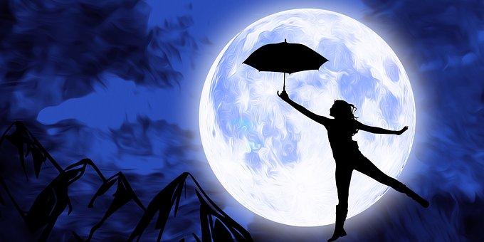 Girl Fun, Woman Playing, Moon, Night, Sky, Full Moon
