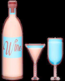 Rose Wine, Bottle, Wineglass, Wedding, Event, Glass
