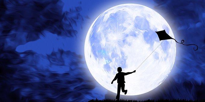 Kite, Kid, Flying, Moon, Night, Sky, Full Moon