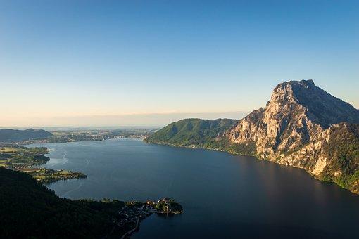 Panorama, Lake, Mountain, Traunstein, Peninsula