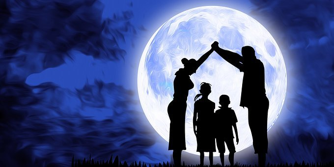 Family, Mother, Father, Kids, Moon, Night, Sky