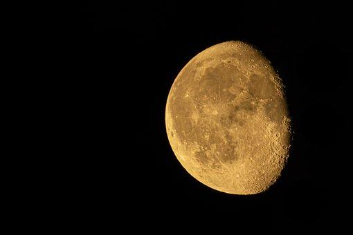 Moon, Waning, Lunar, Gibbous, Orange, Waxing, Sky