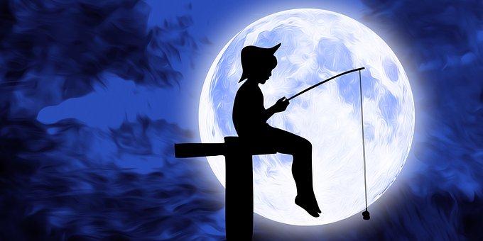 Fishing, Moon, Night, Sky, Full Moon, Moonlight, Dark