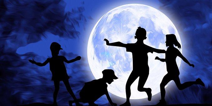 Kids, Children, Girls, Boys, Moon, Night, Sky