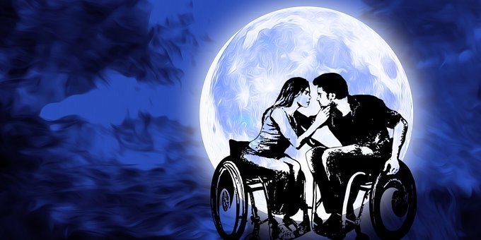 Wheelchair, Handicap, Disability, Disabled, Moon, Night