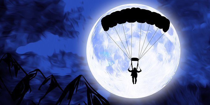 Parachute, Skydiver, Parachutist, Moon, Night, Sky
