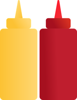 Condiments, Tomato Sauce, Mustard, Sauce Containers