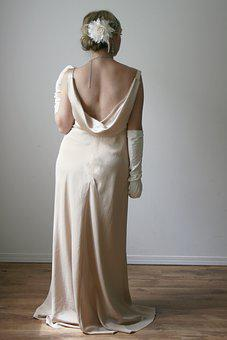 Woman, Back, Gown, Dress, Gold, Up Do, Hair, Gloves