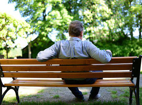 Bank, Park Bench, Man Sitting, Relax, Lonely, Alone