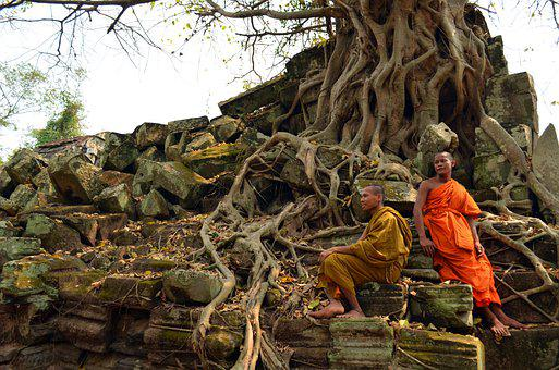 Monks, Orange, Cambodia, Buddhists, Enlightenment, Asia