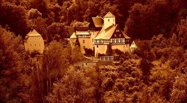 Ore Mountains, Castle Rauenstein, Sepia, Old, Antique